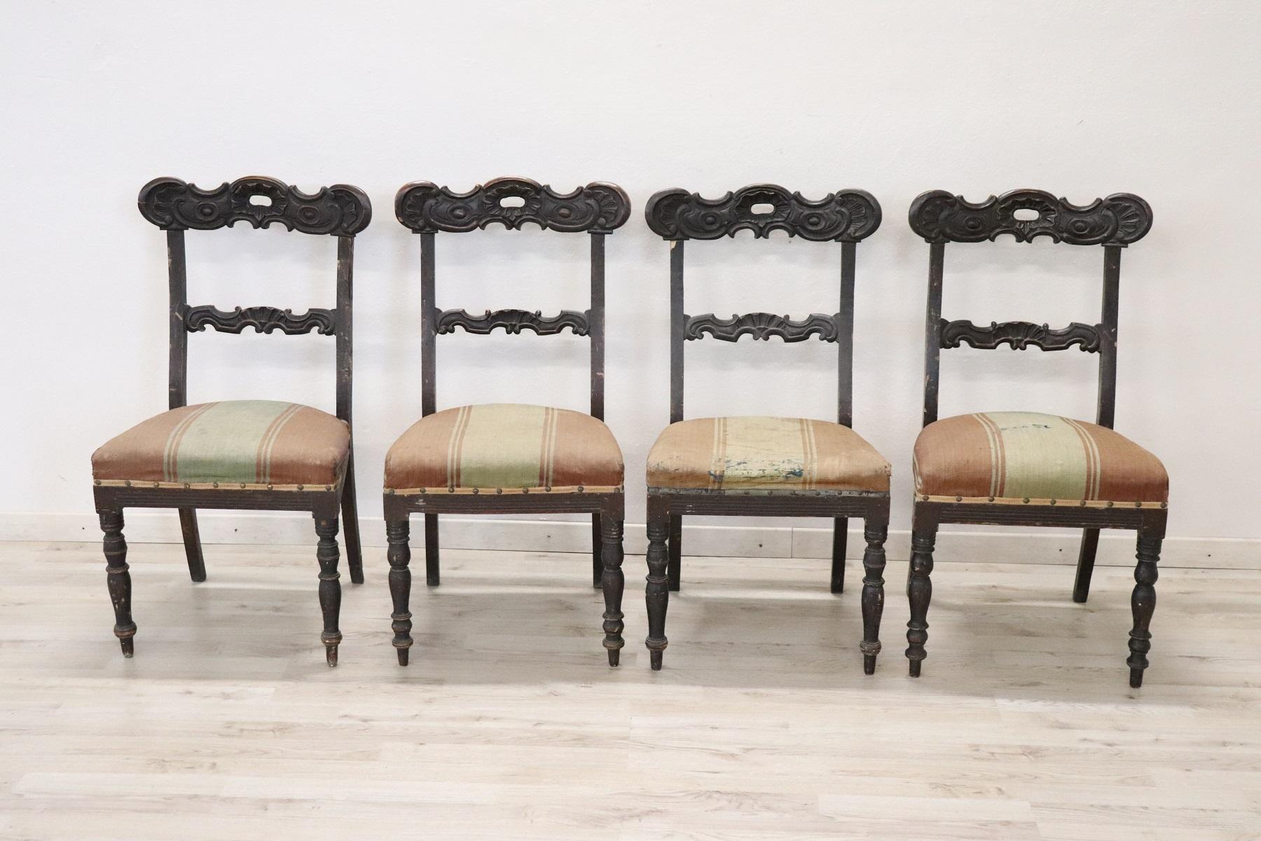 Four Antique Chairs In Walnut Charles X Sec Xix Restoration